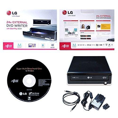 LG Electronics Super Multi Mdisc DVD External Writer GE24NU40 Retail Box + Software + USB Cable + AC Power Adapter (Black)