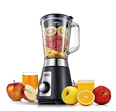 SKG Professional Blender/ Mixer Personal Blender 1500ml glass jar 2 Speeds with HIGH/LOW speeds control with a Meat Mincing Cup, Black/900W