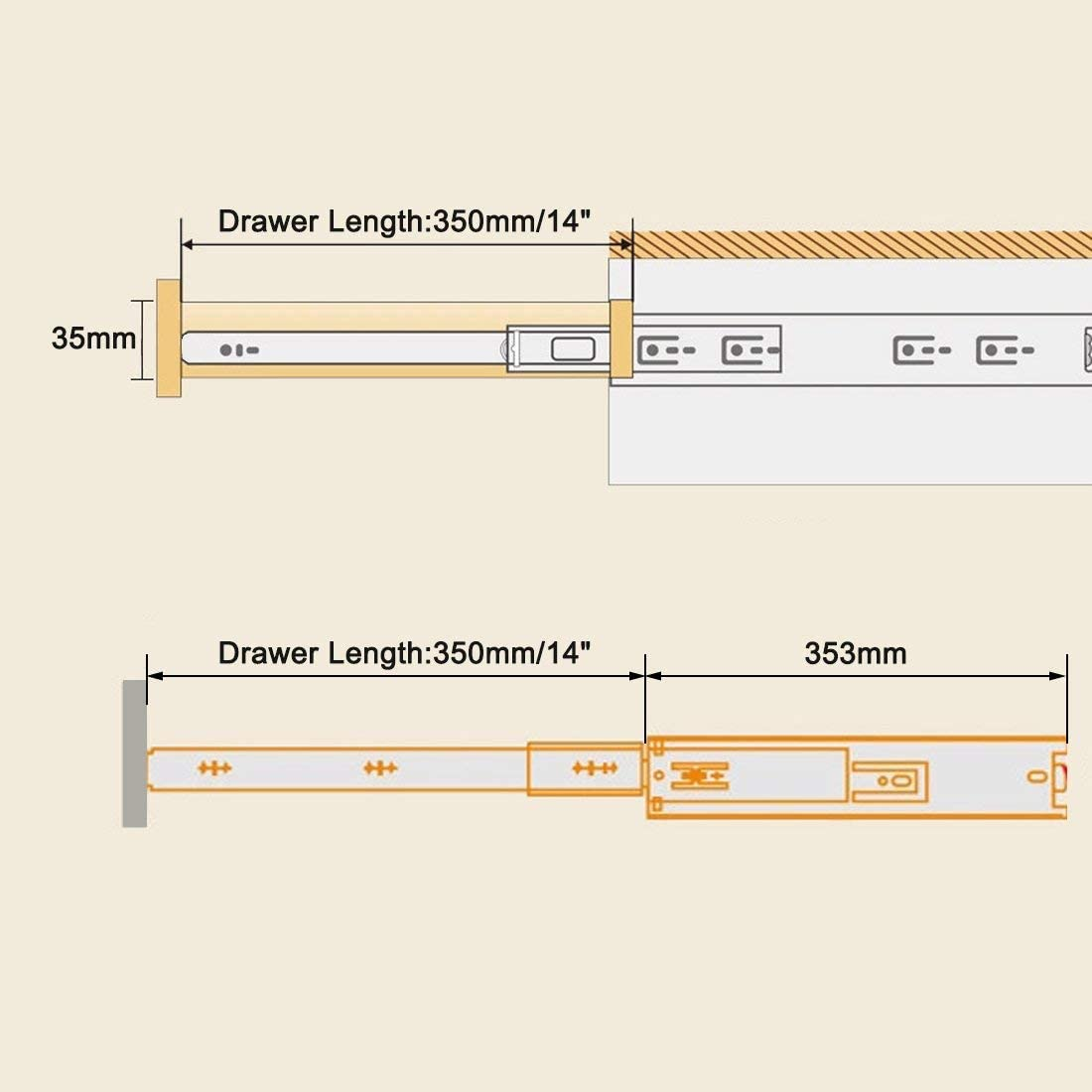 1 pair full extension 100 lb width capacity Side mount drawer sliders with ball bearing 35 mm 14 inches