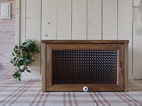 プリンターラック 木製 ひのき アンティークブラウン プリンター台 フランス製チェッカーガラス 引き出し 収納ボックス 電話台 ファックス台 受注製作 B07C3KGSQ5