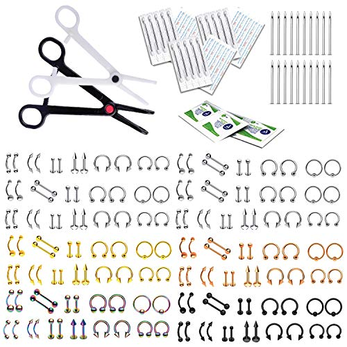 BodyJ4You 400PC Body Piercing Kit Lot 14G 16G Belly Ring Labret Tongue Tragus Barbells Mix Jewelry
