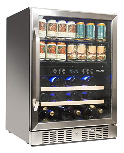 NewAir AWB-400DB Dual Zone Beverage Cooler, Built-in Stainless Steel Refrigerator for Soda Beer or Wine, Holds 22 Bottles and 70 Cans ()