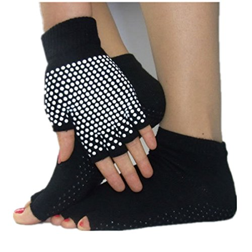 Jiexing Toeless Yoga Socks and Gloves Set, Non Slip Grip with Silicone Dots-Black