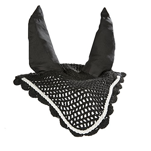 (Intrepid International All Crochet Fly Veil with Ears, Black/Silver, Horse Size)