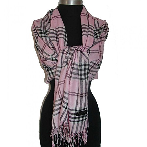Samurai Plaid Costumes (Pink_(US Seller)Plaid shawl Warm Winter long solf scarf)