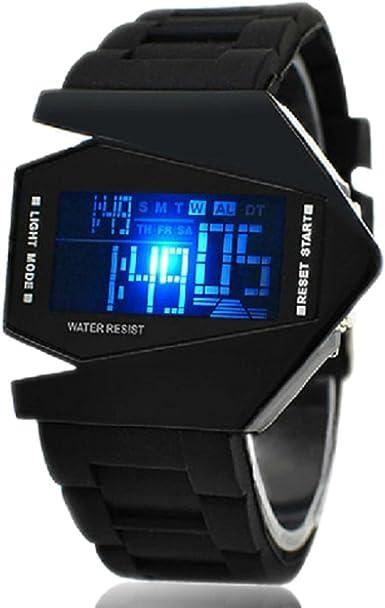 Reloj de Muñeca LED V Unisex con Correa de Silicona (Negro)
