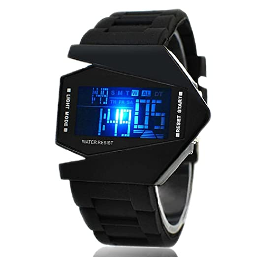 Vktech New Fashion Cool Unisex Colorful LED Aircraft Watch Sports Watch (Black II)