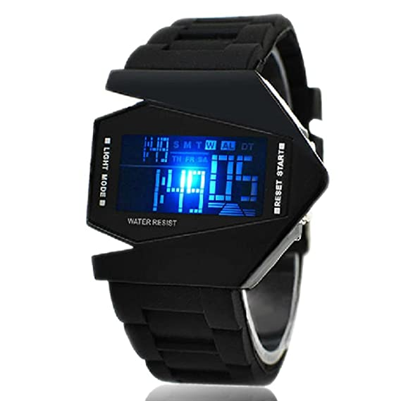 Amazon.com: Vktech New Fashion Cool Unisex Colorful LED Aircraft Watch Sports Watch (Black II): Electronics