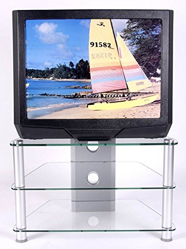 RTA Home and Office TVM-021 Glass and Aluminum Clear Tempered Glass Plasma/LCD TV Stand with Wire Management for a 32