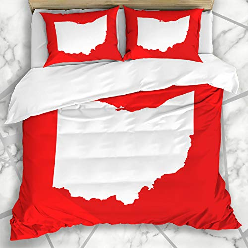 Ahawoso Duvet Cover Sets Queen/Full 90x90 Graphic Red America Ohio White Mapborder Flat Simple Abstract American Cartography Cincinnati Microfiber Bedding with 2 Pillow Shams
