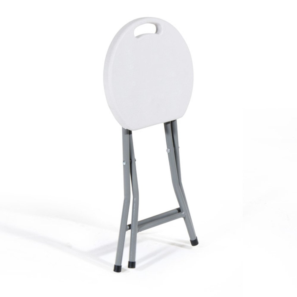 Colore Bianco VERDELOOK Sgabello Pieghevole in Acciaio Verniciato e Seduta in plastica