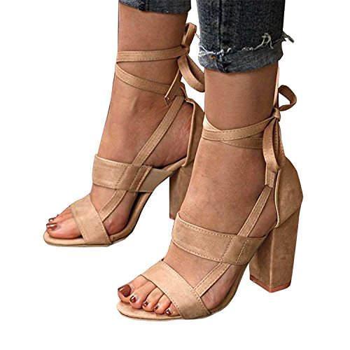 Minetom® Womens Strappy Sandals Block High Heel Ladies Ankle Party Evening Summer Bandage Sweet Fashion Prom Shoes A Beige 6J2RUi