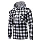 Danhjin Men Long Sleeve Lattice Printed Plaid Hoodie Standard-Fit Hooded Button Down Sweatshirt Tops Blouse Jacket (Black, XXL)