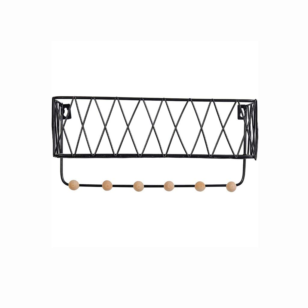 Shelf Hanging Storage Rack Simple Wrought Iron Grid Wall Shelf Home Wall Storage Finishing Rack Hook Storage Basket (Color : Black, Size : L)