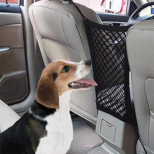 Adromy Car Dog Barrier, Backseat Universal Stretchy Mesh Organizer Net Storage Fine Cargo Net Hooks Pouch Holder for Bag, Phone, Pets, Children, Kids and Water Bottle Disturb Stopper Black