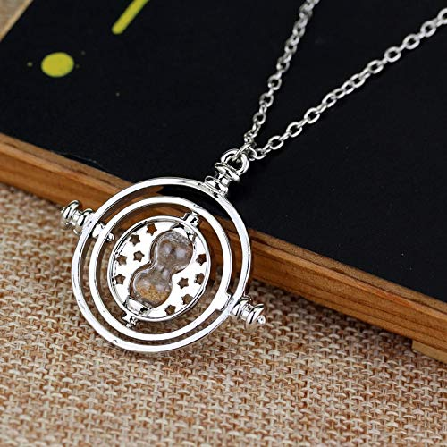 FITIONS - Movie Jewelry Gold And Silver Plated Time Turner Necklace Hermione Rotating Spins Gold Hourglass Pendant