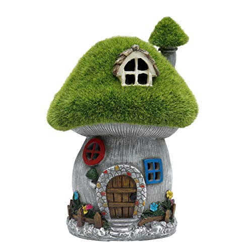 TERESA'S COLLECTIONS Green Flocked Mushroom House Garden Statue, Outdoor Resin Statues with Solar Lights, Garden Figurines for Outdoor Home Yard Decor (8 Inch Tall) (Figurines Garden Mushroom)