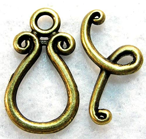 (10Sets Tibetan Antique Bronze Teardrop Toggle Clasps Hooks Jewelry Finding C386 Jewelry Making Supply Pendant Bracelet DIY Crafting by Wholesale Charms)