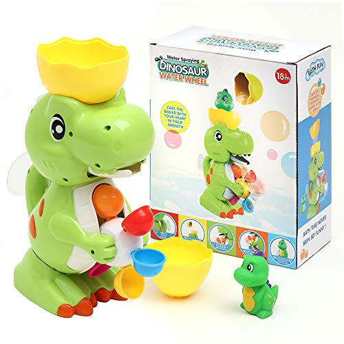 LESONG Bath Toys for Kids, Funny Dinosaur Bathtub Toys with Windmill Waterfall for Bath Time Sensory Development, Strong…