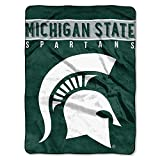 The Northwest Company Officially Licensed NCAA Michigan State Spartans Basic Plush Raschel Throw Blanket, 60' x 80', Multi Color