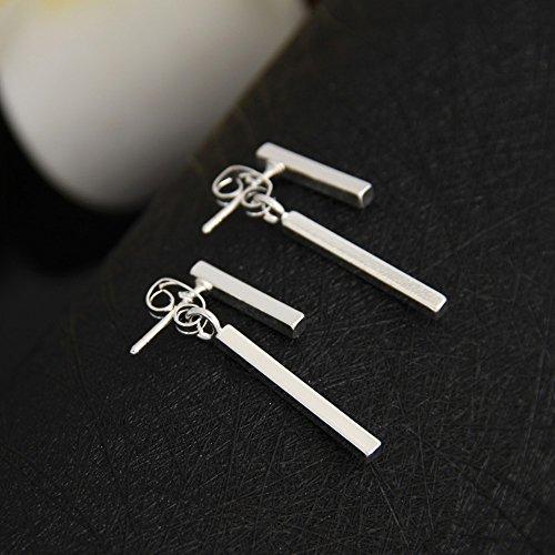 1 Pair Simple T Bar Stud Earrings Jacket Custom Geometric Jewelry for Women - Silver Plated