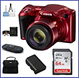 Cheap Canon PowerShot SX420 IS Digital Camera [Red] 64GB Pro Bundle, Includes 64GB SDXC Class 10 Memory Card, Spare Battery, Small Camera Bag and more …