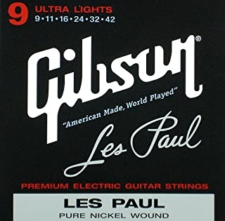 product image for Gibson Les Paul Premium Electric Guitar Strings, Ultra Light Gauge 9-42