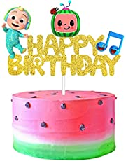 Cocomelon Cake Topper, Cocomelon Cake Decoration Birthday Party Supplies for Kids 1st 2nd 3rd Birthday, Glitter Cartoon Coco-Melon Birthday Cake Topper Party Supplies Favors for Girls Boys