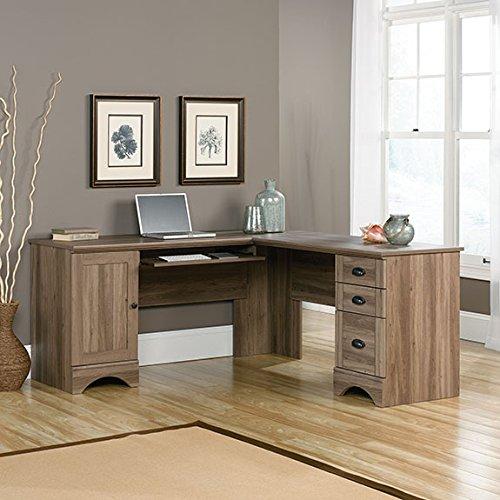 Sauder Harbor View L Shaped Computer Desk in Salt Oak (Oak Computer Table)
