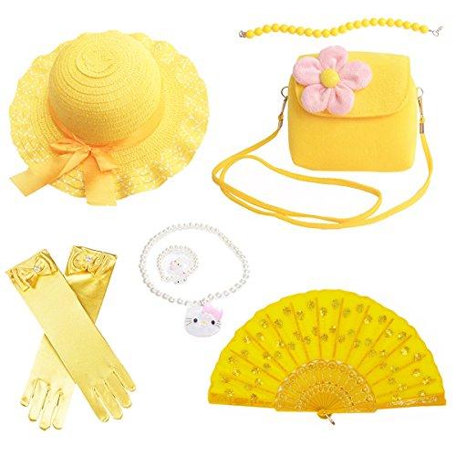 Banadim Girls Party Dress Up Play Set Sun Hat,Handbag, Jewelry -Yellow by Banadim