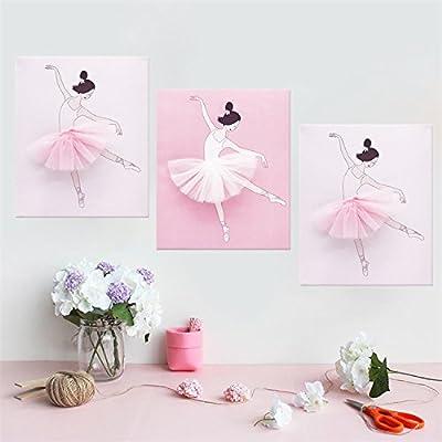 "AmazingWall Dance Wall Decal Ballet Art Decor Painting on Canvas Baby Nursery and Girls Room Decor 9.84x11.81"" 3Pcs/set"