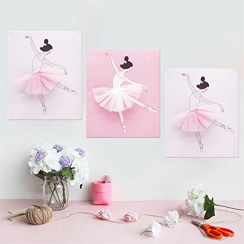 (AmazingWall Dance Wall Decal Ballet Art Decor Painting on Canvas Baby Nursery and Girls Room Decor 9.84x11.81 3Pcs/Set)