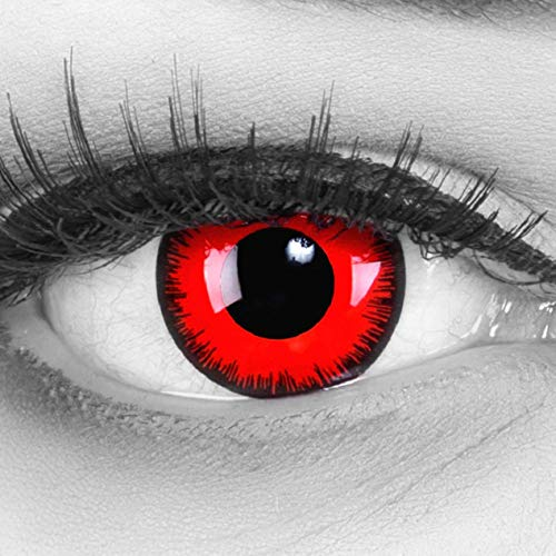 Cosplay Eyes Multi-Color Contact Lenses Cosplay Eyes Cute Colored Charm and Attractive Blends Cosmetic Makeup Eye Shadow (Red) ()