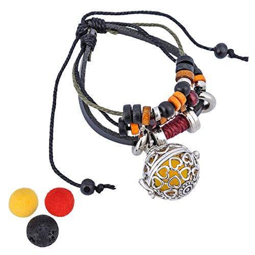 HooAMI Aromatherapy Essential Oil Diffuser Locket Heart Charm Bracelet Adjustable Leather Wrist Cuff ()