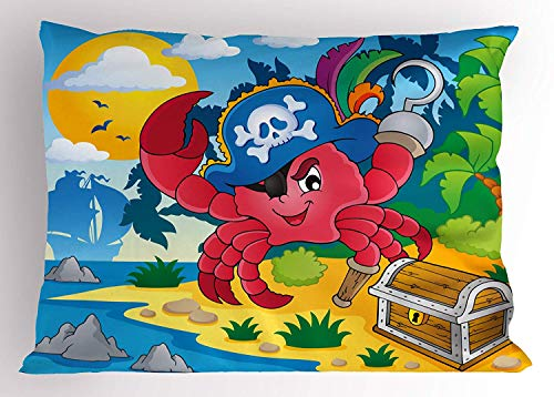 (lsrIYzy Pirate Pillow Sham, Cute Cartoon Crab with Eye Patch Pirate Hat Hook Pegleg Deserted Island Coast Jungle, Decorative Standard Queen Size Printed Pillowcase, 30 X 20 inches, Multicolor)