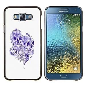 "For Samsung Galaxy E7 E700 Case , Purple Ink Tattoo Skull Muerte Rose Art"" - Diseño Patrón Teléfono Caso Cubierta Case Bumper Duro Protección Case Cover Funda"
