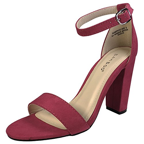 With Fuchsia Heel Chunky Faux Band Suede BAMBOO Women's Ankle Sandal Strap Single T4gZTxwY