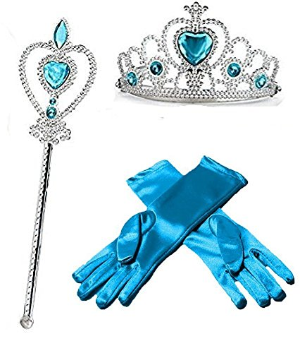 Princess Dress up Party Accessories - 3 Piece Gift Set: Gloves, Tiara and Wand (Blue) (Frozen Gloves)