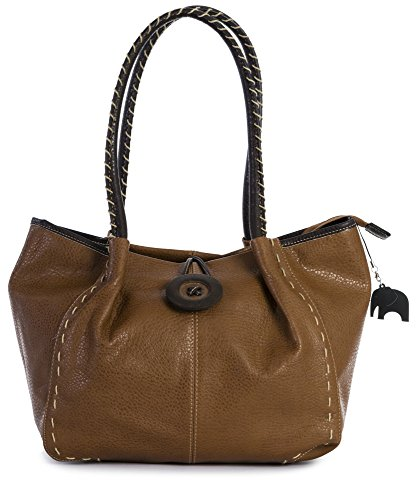 BHSL Womens Trendy Designer Boutique Large Button Detail Tote Shoulder Bag With Elephant Charm and Dust Bag Bhsl - Medium Tan