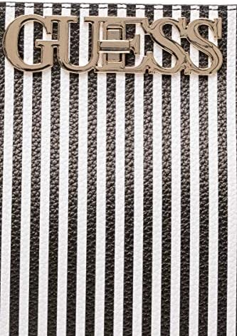 Guess Borsa Shopping Uptown Chic Donna Righe Bianco/Nero in Ecopelle