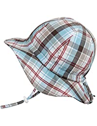 Cotton Toddler Boy UV Protective Sun Hat 50 UPF, Drawstring Adjustable, Packable (M: 6-30m, Floppy Hat: Summer Plaid)