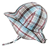 Twinklebelle Cotton Toddler Boy UV Protective Sun Hat 50 UPF, Drawstring Adjustable, Packable (M: 6-30m, Floppy Hat: Summer Plaid)