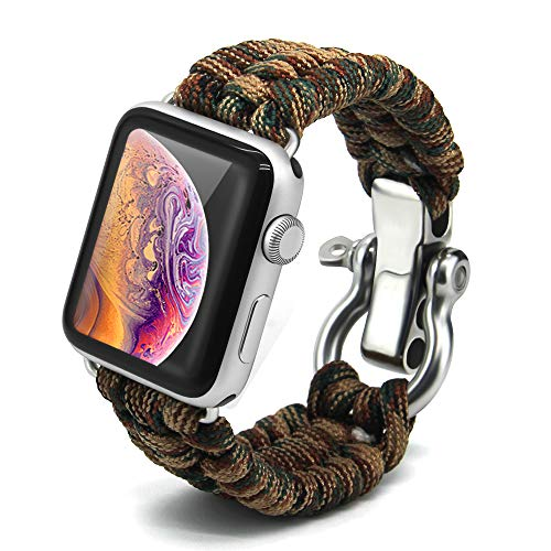 Bellamei Paracord Bracelet Survival Bracelets Compatible for Apple Watch Band 42mm 38mm iWatch 44mm 40mm Band Sport Wristbands for Series4/3/2/1 Nike+ Edition (Brown Dardgreen, 42mm/44mm) ()