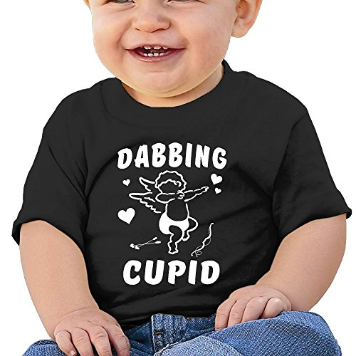 Cupid Costumes For Baby Boy (Dabbing Cupid Infant Short-Sleeve Round Neck Shirts Baby Undershirts T Shirt - For Boys And Girls Black 12 Months)
