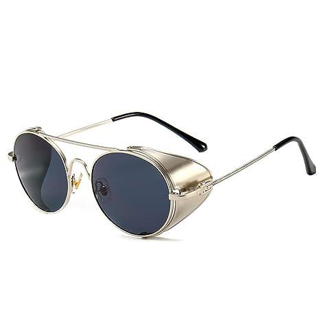 Yangjing-hl Gafas de Sol Espejo Retro Gafas de Sol Redondas ...