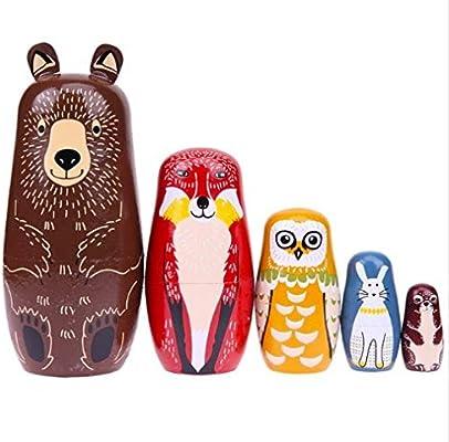 Basswood Russian Nesting Dolls Matryoshka Babushka Dolls Hand Painted Bear