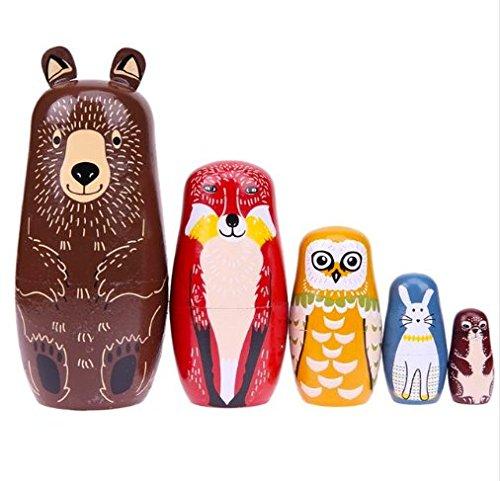 - Maxbei 5pcs Bear Ear Russian Matryoshka Dolls Handmade Basswood Nesting Dolls Set Baby Children Educational Matryoshka Dolls Toys Decor