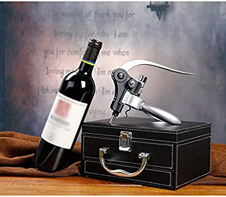 Sacacorchos de vino de alta gama Juego de abridor de lujo Juego de abridor de palanca Juego de 8 cajones de PU de primera calidad Caja de regalo for el amante del vino Regalo perfecto (Negro) Sacacorc