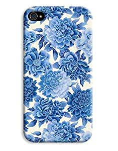Blue Floral Ice Flower Design iPhone 4 4S Hard Case Cover