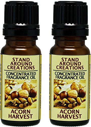 Set of 2 - Concentrated Fragrance Oil - Acorn Harvest: This fragrance is a warm earthy, nutty aroma with rich buttery vanilla. Made w/Essential oils (.33 fl.oz.)